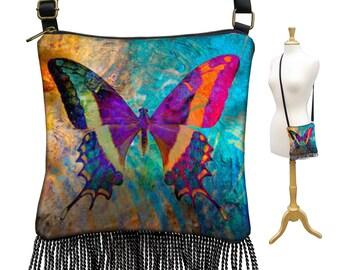 Butterfly Crossbody Bag, Small Sling Bag, Colorful Bohemian Purse, Hippie Bag, Mini Gypsy Bag, Boho Fringe Purse,  Shoulder Bag RTS