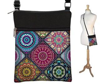 Crossbody Bag, Bohemian Bag, Cross Body Purse, Boho Fabric Handbags, Small Shoulder Bag w/ zippers colorful mandala  blue purple orange RTS
