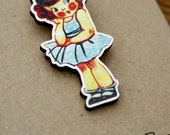 1920's Sweetest Little Flapper Girl Art Deco Vintage Greetings Card Inspired Wooden Brooch Pin RESERVED (04)