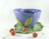 Ceramic Colander on Tray - Handmade Purple Ceramic Berry Bowl on Leaf Dish - Pottery Fruit Bowl - for Berries, Vegetables Strainer Prep 485