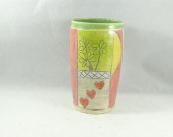 Ceramic teacup - wine tumbler- flower vase, pencil holder and toothbrush holder, desk caddy, bathroom set 240