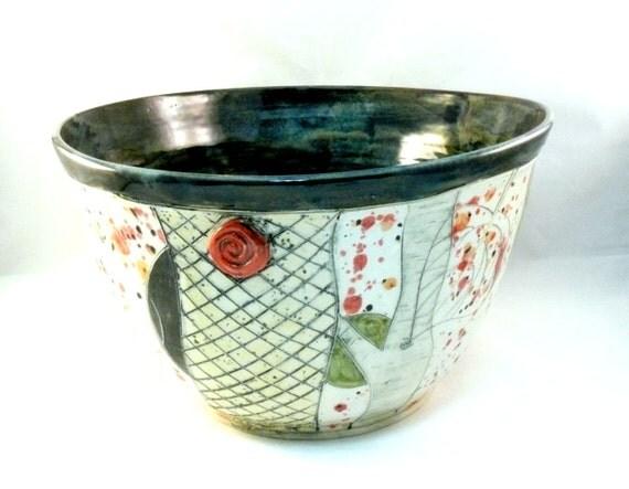 Extra Large Pottery Serving Bowl, Large Ceramic Planter, Family Sized Ceramic Bowl, Artistic Vessel, Art Object, Huge Decorative Bowl