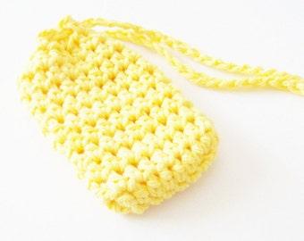 Cotton Crochet Soap Saver, Yellow Soap Saver, Crochet Soap Sack, Crochet Soap Saver Bag, Reusable, Ecofriendly