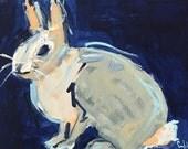 original acrylic painting bunny rabbit cottontail spring decor wall art, navy blue