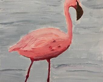 flamingo painting original acrylic painting pink flamingo art