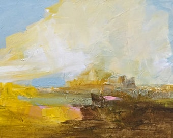 abstract landscape, painting, art, landscape, sky painting, yellow art, wall art, sepia and yellow, pale blue