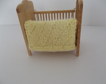 Yellow 1-12 Scale Doll  Miniature Blanket Hand Knit  -  1-12 Scale Miniature Doll House Blanket