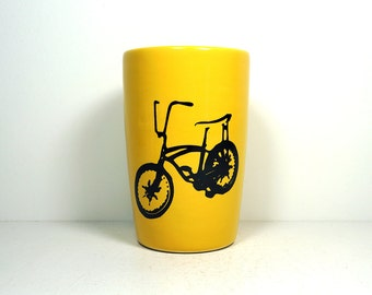 18oz tumbler with a Stingray Bicycle print shown here on Lemon Butter yellow, made to order / pick your colour