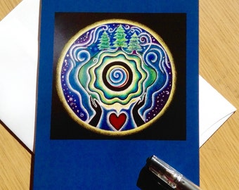 Earth Blessing Mandala  Greeting Card -  Blank Art Card Colored Pencil Drawing- Blank-