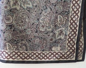 Vintage Liberty of London Square Silk Scarf – Gorgeous Brown Beige Grey and Black Design
