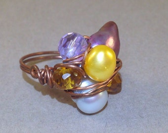 CLEARANCE: Purple Blister Pearl Ring - Cluster Ring - Statement Ring - Wire Wrap Ring - Copper Ring - Boho Chic - Gift For Her - SALE Ring