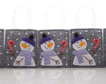 Snowman Ornaments, 5 Felt Christmas Ornaments, Christmas Gift Decorations, Advent Calendar Gifts, Folk Christmas, Felt Candy Canes