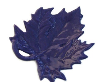 Purple Maple Leaf Ceramic Tea Bag Holder Small Spoon Rest Table Accent