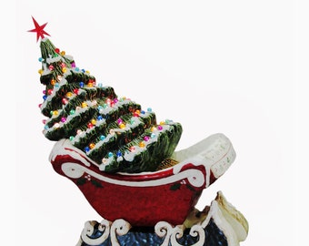 Red Sleigh Center Piece Lighted Ceramic Christmas Tree with Snow Color Lights - Made to Order