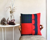 Wool Pillow Patchwork with Down Insert Red and Black Watch Plaid Winter Decor