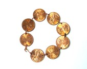 Coin Bracelet Lincoln Penny Solid Copper Bracelet Birthday, Anniversary, USA Bracelet