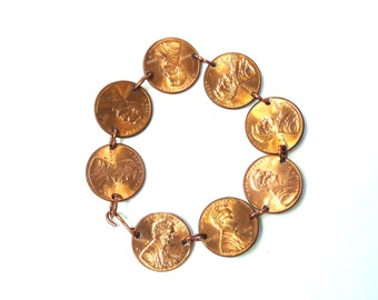 Coin Bracelet Lincoln Penny Solid Copper Bracelet Birthday, Anniversary, USA Bracelet