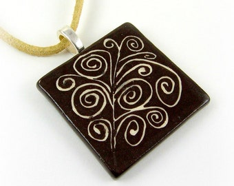Brown and White Sgraffito Ceramic Pendant