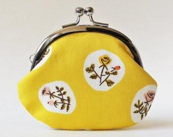 Coin purse change purse kiss lock purse - flowers on yellow orange roses pink rose floral lemon yellow coin purse flower pouch frame purse