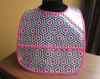WATERPROOF BIB Wipeable Plastic Coated Baby to Toddler Bib Hot Pink and Navy Blue Hexagons