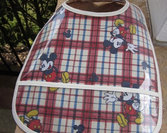 WATERPROOF WIPEABLE Baby to Todller Plastic Coated Bib Mickey Mouse Plaid