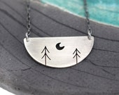 Two Pine Trees with Crescent Moon half moon sterling silver tree art pendant