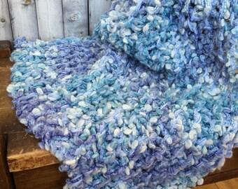 SALE Newborn Baby Blanket KNiT BaBY PHoTO PRoP Stretchy Unisex Blue Lilac WRaP Boy Girl CoZY Textured Swaddler SoFT PaD Basket Stuffer Gift