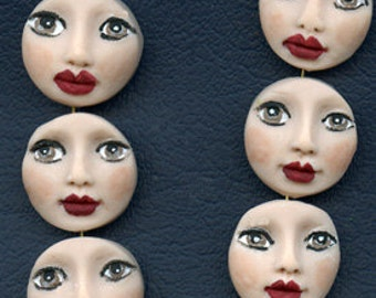 6 Polymer  Detailed top drilled face beads BFBD 6