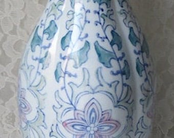 Vintage Asian Vase Blue on White with Pink Lotus Flowers 14 Inches Tall