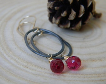 Blackened silver organic ovals with gold filled wire wrapped Ruby Cordundum - dangle earrings