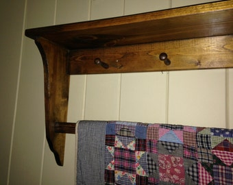 Wall Shelf Solid Pine with Quilt / Tapestry  Bar and 5 Shaker Pegs; Wall Hanging Display