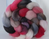 Hand Dyed Polwarth Wool Combed Top Roving  (4 oz) - DRACULA LIVES - Spinning Fiber Hand Painted Kettle Dyed Braid Needle Felting Photo Prop