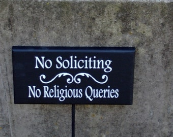 Lawn Yard Sign No Soliciting No Religious Queries Wood Vinyl Rod Stake Sign Stop Private Not Disturb Ring Knock Wooden Home Office Business