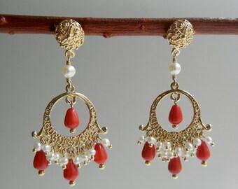Coral and Pearl Beltiya Earrings