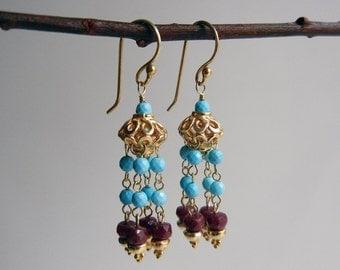 Turquoise and Ruby Mohana II Earrings
