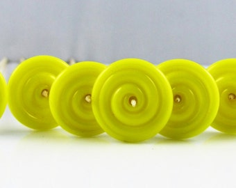 Bright Yellow Lampwork Glass Disc Beads Set of 6