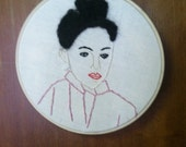 Embroidered woman hoop art