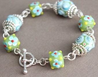 Glass Bead & Sterling Silver Bracelet