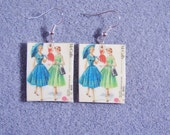 Retro Kitsch Sewing Pattern Dress Gown 1950s Dangle Polymer Clay Earrings 3528