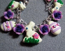 Easter Candy White Chocolate Bunny Polymer Clay Purple Roses Charm Bracelet WC7