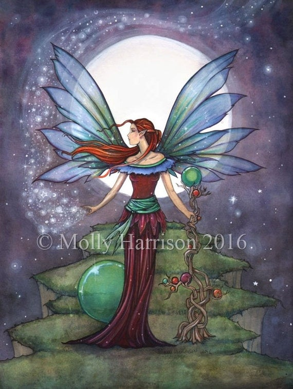 Spinning Stars - Original Watercolor and Mixed Media Painting by Molly Harrison - Fairy with Stars and Moon