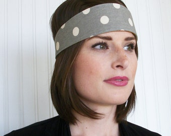 Gray and white Polka Dot Headband, Fabric Headband, Hair Wrap, Womens and Teens Headbands