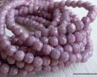 3mm English Cut Beads - Luster - Opaque Lilac - Czech Glass Beads - 50 pcs (SP - 38)