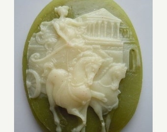 50% OFF 40x30mm Large Oval Cameo Chariot Ivory/Sage Green