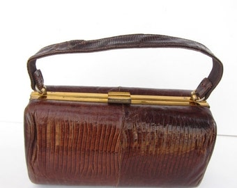 ON SALE Vintage Snake Skin Purse Brown Hinged Clutch Hand Bag Handle 50s 60s with Coin Purse Pouch