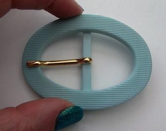 Vintage Pale Blue/Green 60s Plastic Belt Buckle  - Large Oval