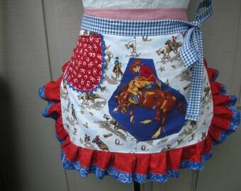 Aprons - Womens Half Aprons - Horse Aprons - A Girl and Her Horse  Apron - Western Aprons - Cowgirl Apron - Annies Attic Aprons