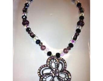 Mauve and Black Pendant Necklace