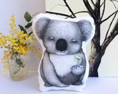Baby Koala Stuffie. Softie, Plush, Soft Toy, Australian animal. White and gold geometric back.