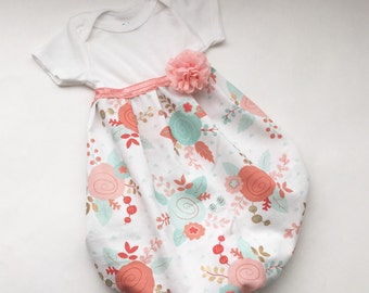 SHABBY CHIC coral and aqua baby Gown - new baby
